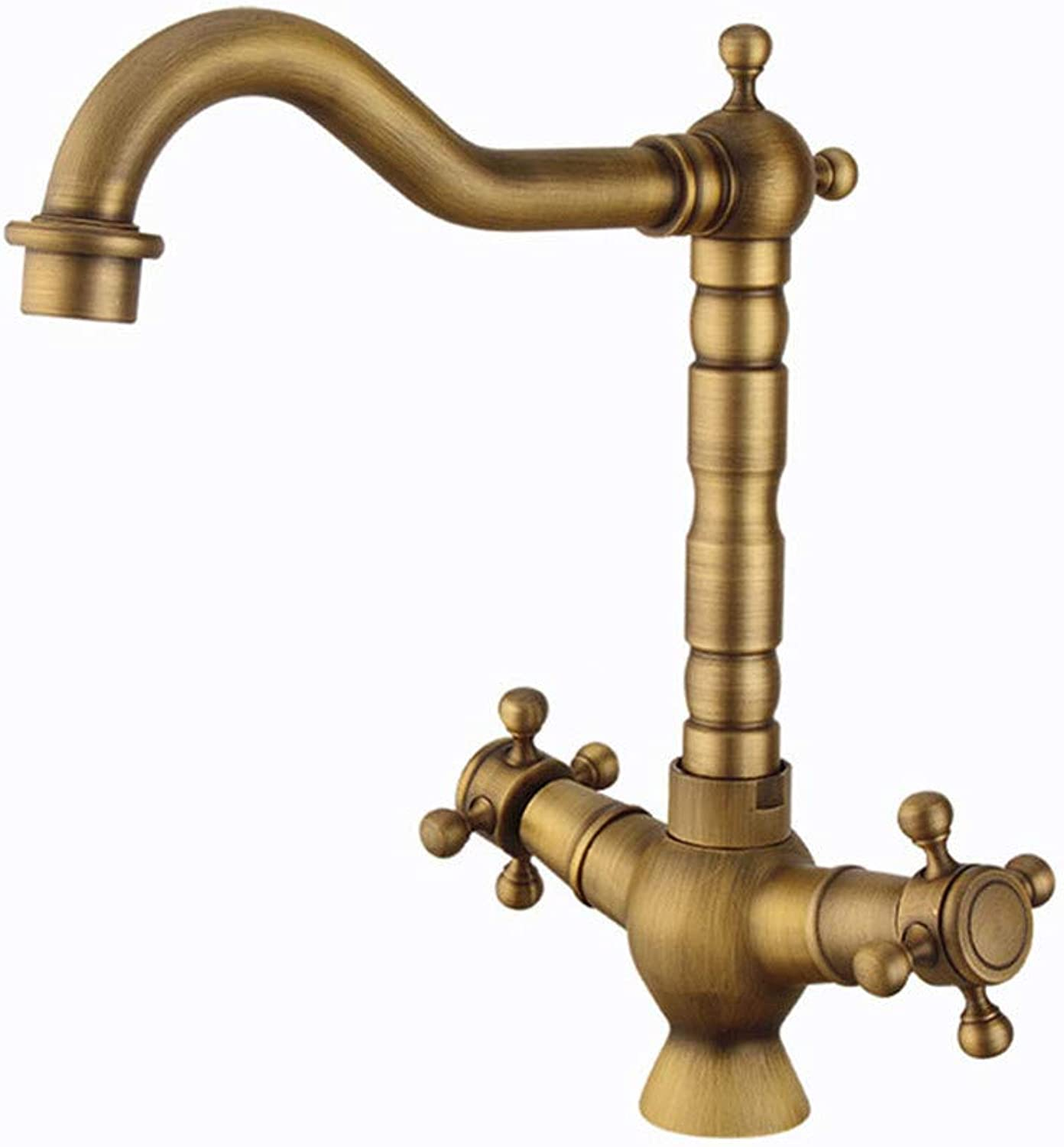 Brass European hot and Cold tap Retro Spiral Kitchen tap Household Vegetable Basin tap, Antique,18  25.5cm