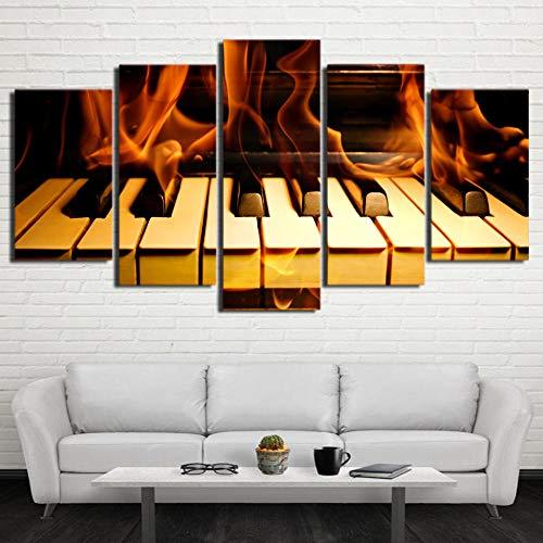 baqianli Malerei 5 Panel Brennendes Klavier,Moderne Kunst Dekoration Malerei Leinwand Hd Gedruckt 5 Panel Wohnkultur Wandkunst 150Cmx80Cm(OhneRahmen
