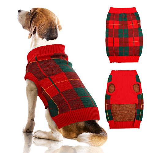 QBLEEV Dog Sweater Vest Turtleneck Dogs Knitted Sweatshirt with Harness Hole,Cold Weather Puppies Grid Pullover Pajamas, Fall Winter Pet Warm Clothes Christmas Costumes for Small Medium Dogs Cats