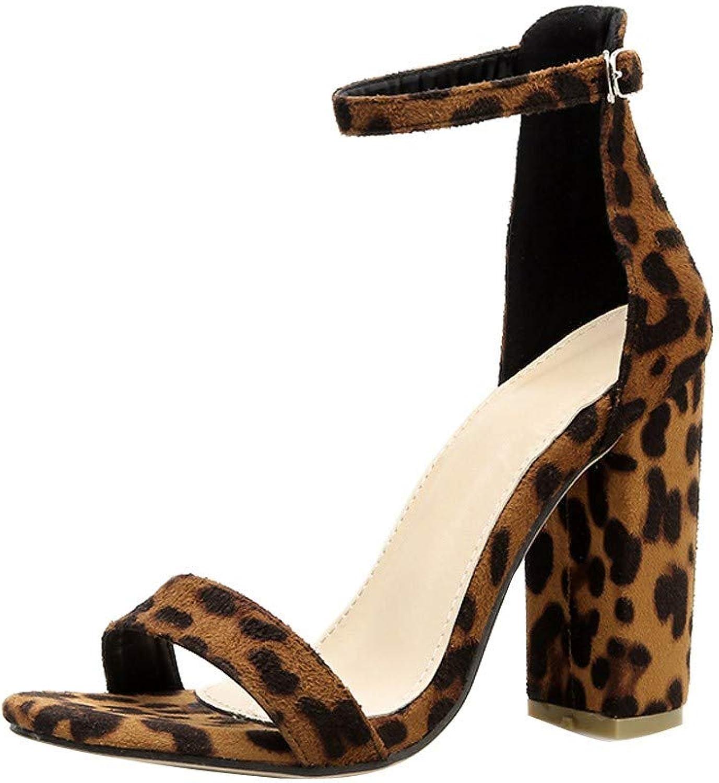 2019 New Women's Sandals Wide Width Fashion Summer High Heel Sandals Sexy Thick Heel Leopard Sandals shoes