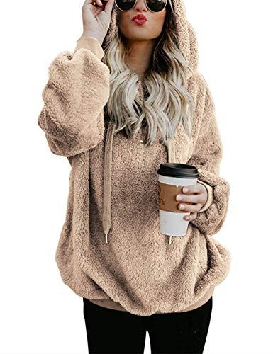 iWoo Winterpullover Damen Casual Winter Kapuzenpullover Mode Langarmshirt Samt Teddy-Fleece Mantel Herbst Winter Hoodie Pullover(Khaki,M)