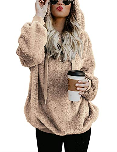 iWoo Winter Pullover Damen Casual Winterpullover Kapuzenpullover Langarm Pullover Hoodie Kuschelpullover für Damen(Khaki,XL)
