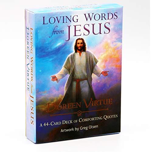 Palabras amorosas de Jesús: una Cubierta de 44 Cartas. Tarjetas de Juego adecuadas para predecir el Futuro
