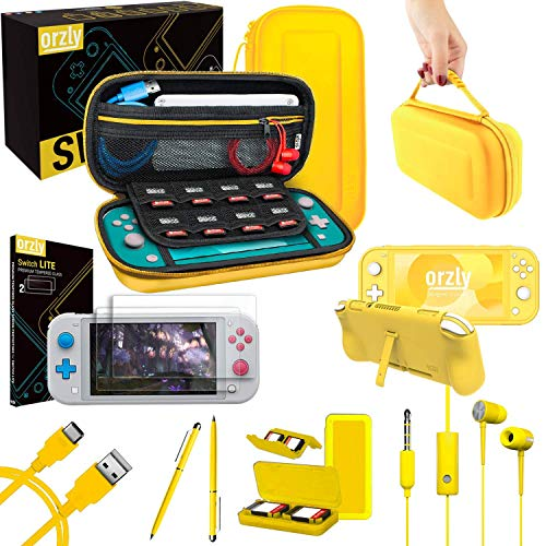 Orzly Switch Lite Accessories Bundle - Case & Screen Protector for Nintendo Switch Lite Console  USB Cable  Games Holder  Comfort Grip Case  Headphones  Thumb-Grip Pack & more (Orzly Gift Pack Yellow)