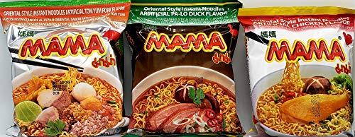 MAMA Ramen Style Instant Oriental Noodles Variety 30 Pack, Chicken, Duck, Tom Yum Pork Flavors