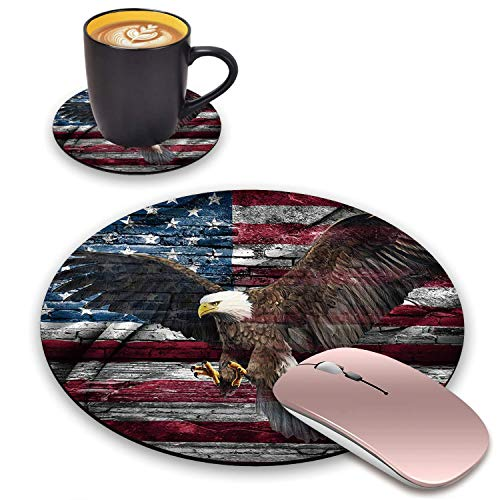 BWOOLL Round Mouse Pad and Coasters Set, Wall Graffiti American Flag Bald Eagle Design Mouse Pad, Non-Slip Rubber Base Mouse Pads for Laptop and Computer