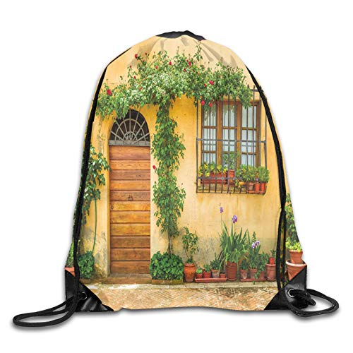 Fuliya Print Drawstring Backpack,Porch With Different Flowers Pots Fresh Green Plants City Life In Tuscany,Beach Bag for Gym Shopping Sport Yoga