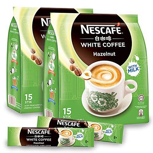 "2 PACK - Nescafé Ipoh White Coffee HAZELNUT (30 Sachets TOTAL) - ""Oh So Nutty"" ★ Deliciously Milky with Creamy Nuttiness & Irresistible Hazelnut Aroma ★ From Nestlé Malaysia"