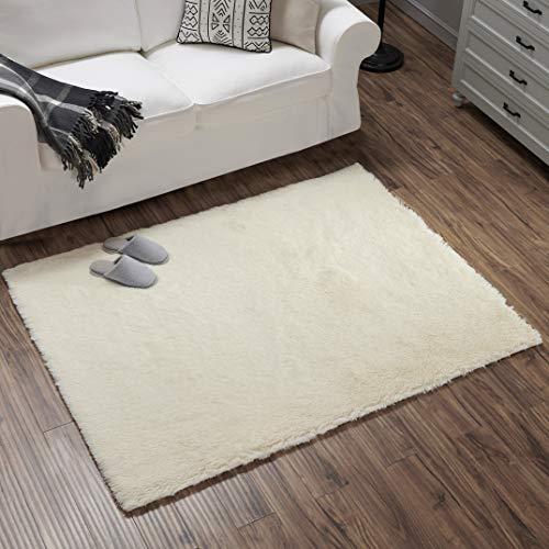 Teppich Wölkchen Hochflor-Plüsch-Teppich I Wohnzimmer Kinderzimmer Schlafzimmer Flur Läufer I rutschfeste Unterseite I 160 x 230 - Creme