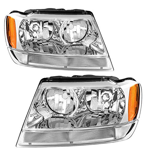 AUTOSAVER88 Headlight Assembly Compatible with Jeep Grand Cherokee 1999 2000 2001 2002 2003 2004 Replacement OE Headlamp Amber Reflector Chrome Housing