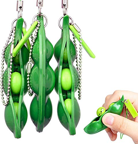 LISSHOW Drücken eine Bohne,Böhnchen Anhänger Sojabohne Schlüsselanhänger Kinder und Adluts Zappeln Spielzeug für Schlüssel Anti-Stress Entlastende(A05_3PC)