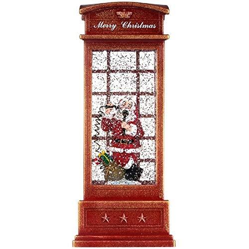 Bavaria Home Style Collection - Atemberaubende Weihnachts Telefonzelle LED und glitzerndem Schneegestöber I Adventsdeko I Weihnachtsdeko Weihnachtsmann