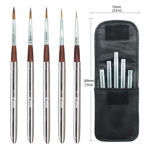 Eval 5pcs Travel Artist Painting Brushes,Detachable Portable Compact Anti-Shedding Nylon Hair Round Hair Pocket Brushes Set with Black Leather Bag for Watercolor Acrylic Oil (5PCS)
