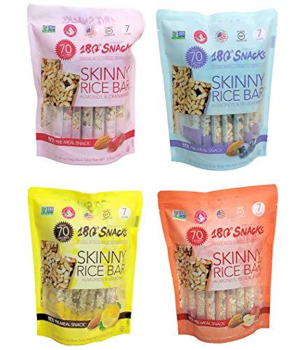 180 Snacks Pre-Meal Snack Skinny Rice Bar with Himalayan Salt Variety Bundle Pack (4) 3.22 oz each Pack of 10