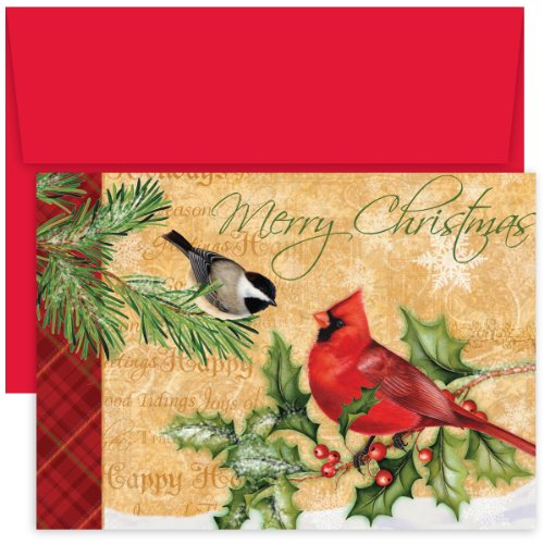 Masterpiece Studios Hollyville Greetings Boxed Cards, Holiday Birds, 18 Cards/18 Envelopes