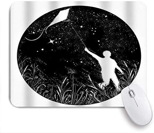 Dekoratives Gaming-Mauspad,Junge fliegt Drachen Das Universum Silhouette Junge Fliegen Drachen Nachthimmel Tattoo Sym,Bürocomputer-Mausmatte mit rutschfester Gummibasis