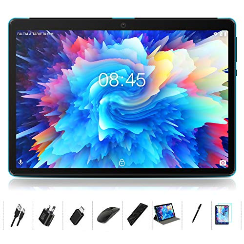 Tablet 10 Inch Android 10: MEBERRY Multi-accessories Octa-Core Processor 1.6GHz Tablet PC 4GB RAM+64GB ROM - Google GMS Certified| 8000mAh| WIFI| Bluetooth| GPS| Double Camera, Blue(WIFI Version)