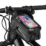 XM Bici Borse Bicicletta Telaio Porta Telefono Bici Impermeabile Borsa Touch Screen Visiera Solare Portacellulare per La Navigazione per Smartphone sotto i 8 Pollici (Nero, 8 Pollici)