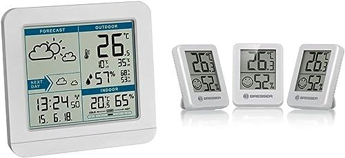 TFA Dostmann SKY 35.1152.02 Station météo radio avec capteur extérieur, prévisions météo & Bresser Thermomètre Hygrom...