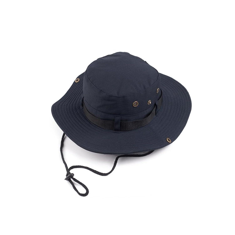 HTDZDX メンズサン帽子夏の屋外旅行登山サンプロテクションUVワイド庇ビーチの帽子顎バンド (色 : Dark blue)