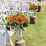 NAHUAA Künstliche Sonnenblumen Realistische Retro Kunstblumen Sonnenblume Strauß Seidenblumen Plastikblumen Deko für Balkon Garten Topf Blumenkasten Friedhof Hochzeit Frühling Tischdeko 1Pcs - 2