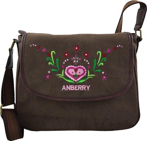 ANBERRY Schultertasche - Flower Flap, Trachtentasche, Dirndl Bag,Tasche mit Stickerei