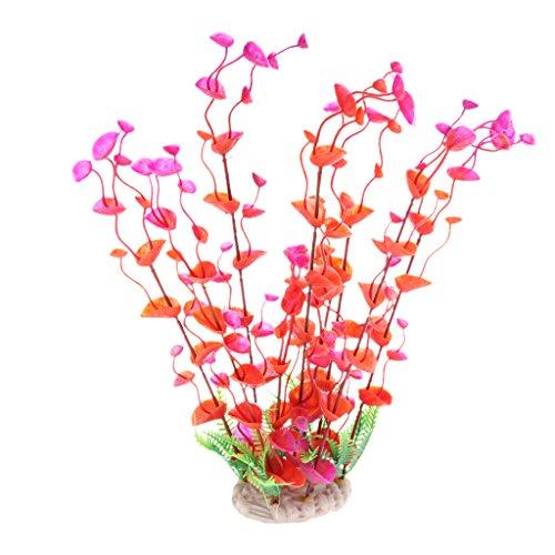 Sharplace Plantes Artificieles Herbes en Plastique Décoration pour Aquarium - Rouge, 8,5 x 6,5 x 32 cm