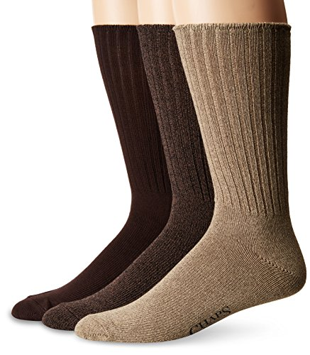 Chaps Men's Assorted Rib Dress Crew Socks (3 Pack), Khaki, Shoe Size: 6-12