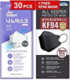 [30 Pack] [Air Queen] White 3-Layers Face Safety Mask for Adult + 1 [Black] All Keeper KF94 Mask [Individually Packaged] [Both Made in Korea]
