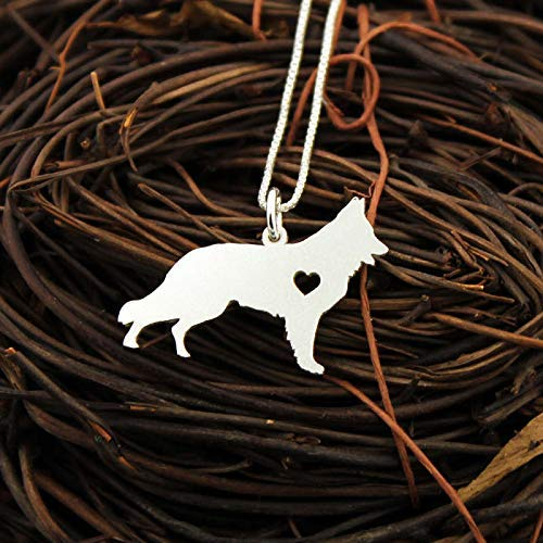 German Shepherd necklace Personalized Engraveable sterling silver Dog pendant With Heart - Dog Breed Jewelry Best Memorial Pet Gift - German 2