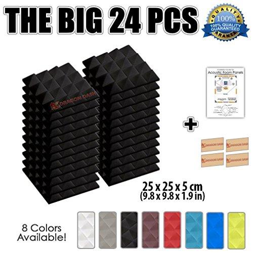 Super Dash (24Stück), 25x 25x 5cm, pyramidenförmige Schallschutzpaneele für Musik-Studio, pyramidenförmige Schallschutzplatten für Wände SD1034 25 x 25 x 5 cm Schwarz