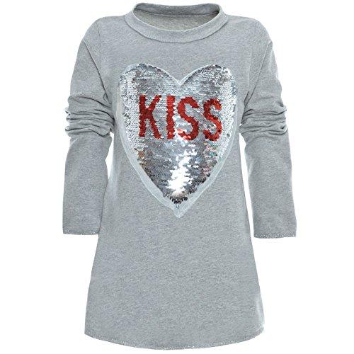 BEZLIT Mädchen Tunika Wende-Pailletten Extra Strick Lang Bluse Kleid Langarm 21049 Grau Größe 128
