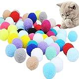 mengger 70Pcs Juguetes para Gatos Pelotas Pompones Bolas Gatos Pelotas Interactivo Entrenamiento para Animal Doméstico Gatos Bola
