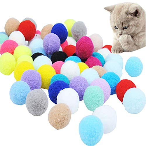 mengger 70 Stück Katzenspielzeug Ball Schaumstoff Katzenbälle Bunt Katze Ball Pompon Bälle Spielbälle Aktivität Spielzeug Training Spielen Kauen Plüsch Hüpfball