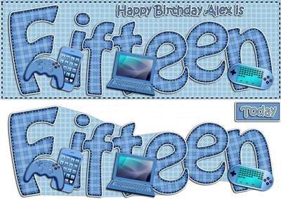 15. urodziny Alex Large Dl szybka karta N 3D decoupage autorstwa Carol Clarke