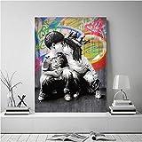 Retrato Imagen Lienzo Pintura Figura Arte de la Pared Graffiti Decoración para el hogar Resumen Bebé Niño Beso Imágenes Bansky Art Pop Carteles e Impresiones 50x70cmx1 sin Marco