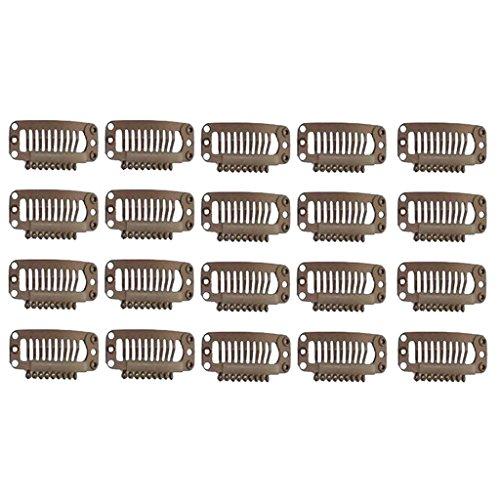 20 clips de extensión de pelo para peluca, tamaño mediano, 32 mm