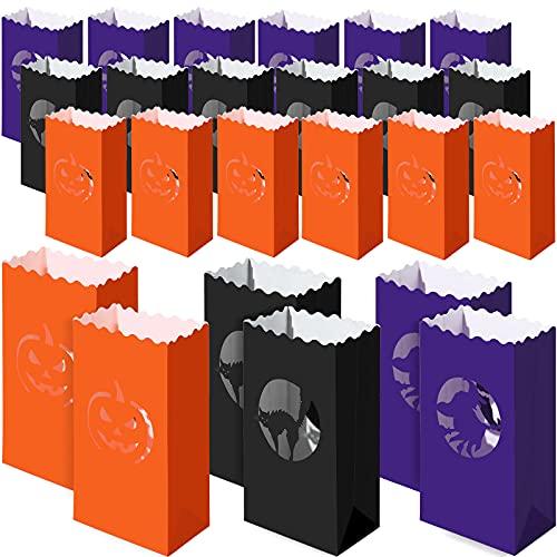 24 Bolsas de Papel Luminario de Calabaza de Halloween Bolsa de Vela Resistente a las Llamas de 10,2 x 5,9 Pulgadas Bolsa de Candelabro de Halloween con Patrón de Gato Bolsa de Papel de Bruja