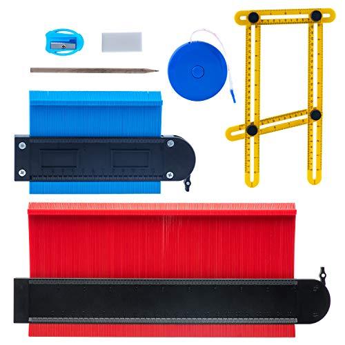 Medidor de Contornos,Duplicador de Contornos 25cm+12cm, Calibrador de contorno,Contour Duplicator Ideal para la medición precisa de baldosas en madera laminada Marcado