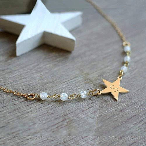 Personalisierte kleine Gold Stern Halskette, Halskette mit Mondsteine, Stern Halskette, Mondstein Halskette, Weihnachtsgeschenk, geburtstaggeschenk, Himmlische Schmuck