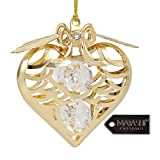 Matashi 24K Gold Plated 2.5 inch Christmas Heart Ornament with Precision Cut Crystals Car, Christmas Tree Hanging Ornament Gifts for Mom Girlfriend Friend Valentines Day Mothers Day Holiday Decor