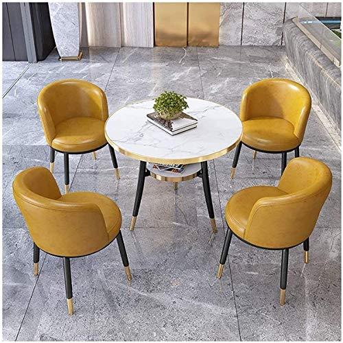 KEKOR Einfache Freizeit Empfang kleines runder Tisch Geschäft Bürositzung Kundenverkaufsbüro 4s Shop 80cm Holz Runder Tisch Verhandlungstisch und Stuhl Kombination 1 Tabelle 4 Stühle