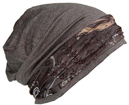 Cool4 Beanie Anthrazit Paisley im Kopftuch-Look - 2erSet mit Halstuch Mundschutz Chemo Turban SBK02