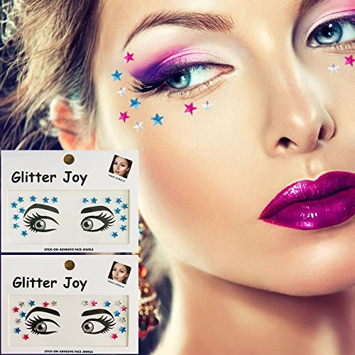 Eye Corners Face Jewels Blue Stars Bindi Rhinestone Festival Face Gems Tattoo Decorations Jewels Body Glitter Crystal Sticker Temporary Face Tattoo for Festival Rave Outfit, 2-Pack