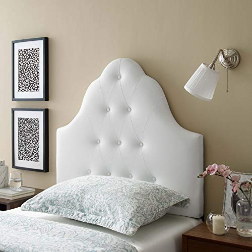Modway Sovereign Upholstered Tufted Button Vinyl Headboard Twin Size In White
