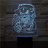 Lámpara de ilusión 3D Luz de noche LED Edward Elric USB Bebés Niños Niños Regalos para bebés Anime japonés Fullmetal Alchemist Mesita de noche Lámpara de mesa de neón Regalos de cumpleaños