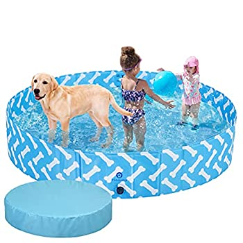HOMIMP Foldable Dog Pool with Cover - Large Collapsible Kiddie Pools for Dogs Puppies Kids Doggie Ducks - Folding 63  XL Puppy Pools for Outside