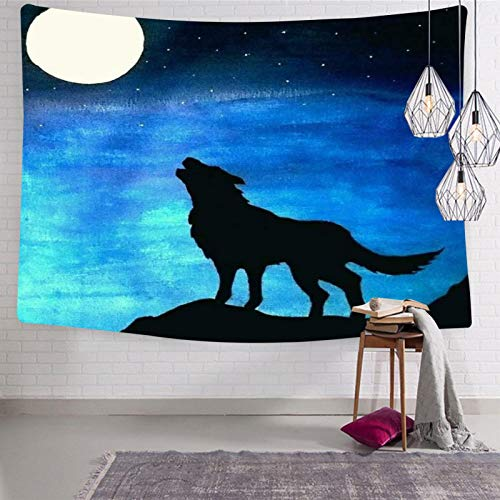 2183 Tapices de pared con diseño de lobo luna, para cama o sala de dibujo, 123 x 21 cm