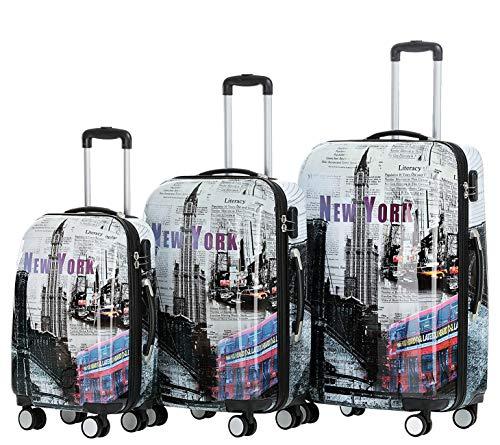 BEIBYE Reisekoffer Hartschalen Hardcase Trolley Zahlenschloss Polycarbonat SET--XL-L--M-- Beutycase (New York, 3er Set(XL+L+M))
