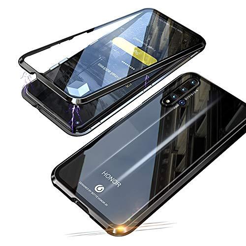 Jonwelsy Kompatibel für Huawei Honor 20 Pro (6,26 Zoll) Hülle, 360 Grad Vorne & Hinten Gehärtetes Glas Transparente Hülle Cover, Stark Magnetische Adsorption Metallrahmen Handyhülle (Schwarz)